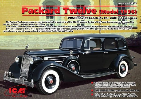 1/35 WWII Soviet Packard Twelve Mod 1936 Leader Car w/4 Figures - ICM 35535