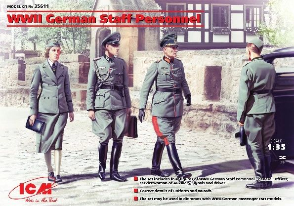 1/35 WWII German Staff Personnel (4) - ICM 35611