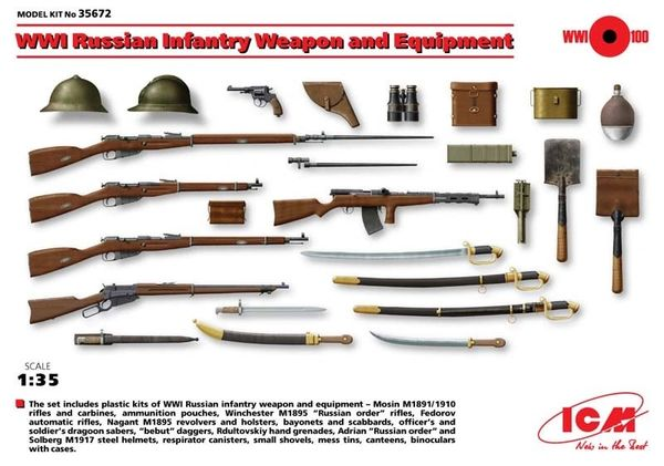 1/35 WWI Russian Infantry Weapon & Equipment - ICM 35672