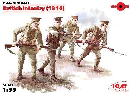 1/35 WWI British Infantry w/Weapons 1914 (4) - ICM 35684