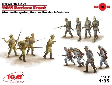 1/35 WWI Austro-Hungarian, German & Russian Eastern Front Infantry - ICM 35690
