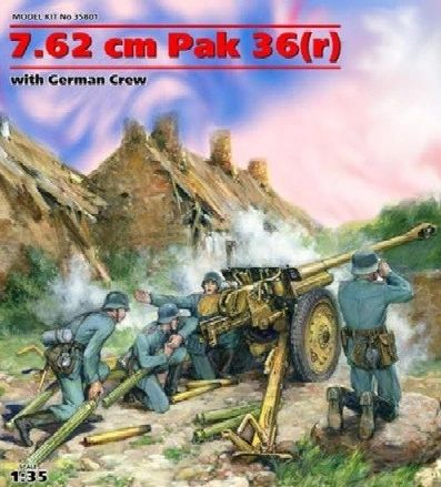 1/35 7.62cm PaK 36(r) Gun w/4 Crew - ICM 35801