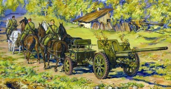 1/35 Soviet 76.2mm F22 Divisional Gun w/Horse Transport (6 Horses & 3 Figs) - ICM 35802