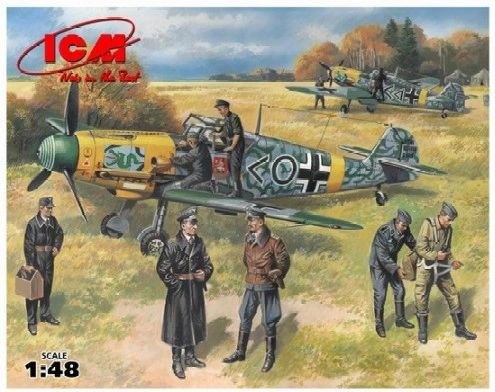 1/48 Bf109F2 Fighter w/Pilots & Ground Personnel 1939-45 (7 Figs) - ICM 48803