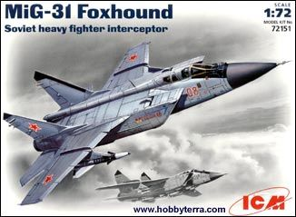 1/72 Soviet Mig31 Foxhound Heavy Fighter Interceptor - ICM 72151