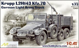 1/72 Krupp L2H143 Kfz 70 German Light Army Truck - ICM 72451