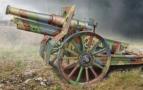 1/72 Cannon de 155C M1917 French Howitzer Gun w/Wooden-Type Wheels - ACE 72543