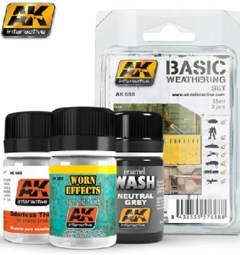 Basic Weathering Paint Set (Thinner, Worn Effects, Grey Wash) - AK Interactive 688