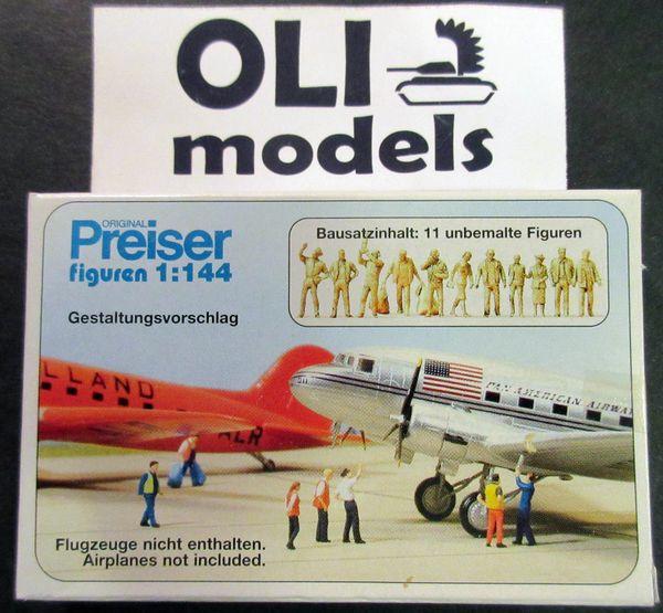 1/144 Unpainted Airline & Airport Personnel (11) - Preiser 77103