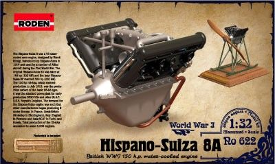 1/32 Hispano Suiza 8A WWI 150hp Water-Cooled Aircraft Engine - Roden 622