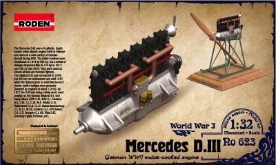 1/32 Mercedes D III WWI Water-Cooled Aircraft Engine - Roden 623