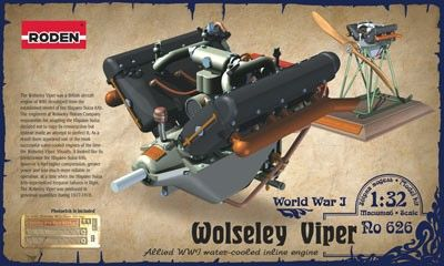 1/32 Wolseley W4A Viper WWI V-Figurative Water-Cooled Aircraft Engine - Roden 626