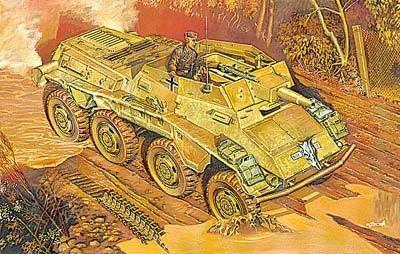 1/72 SdKfz 234/3 Schwerer Panzer Kanonenwagen Support Armored Vehicle - Roden 707