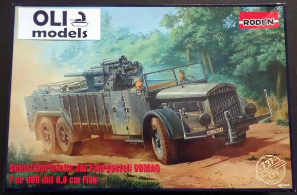 1/72 Selbstfahrlafette to Fahrgestell VOMAG Anti-Aircraft Vehicle 7 or 660 w/8,8cm Flak 36 Gun - Roden 727