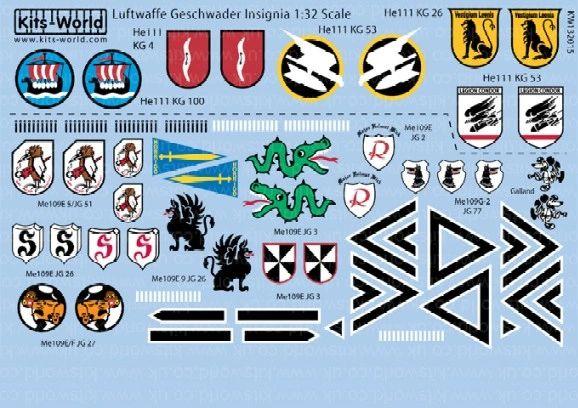1/32 Luftwaffe Geschwader Insignia (13 Designs) - WBS-132015