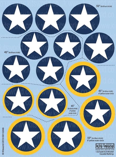 1/32 B25 Cocarde 45� & 50� Stars in Blue Circle & Stars in Blue/Yellow Circle - WBS-132048