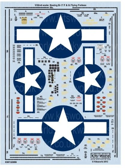 1/32 B17G US Air Corps General Stenciling & National Insignias, Cockpit Instrumentation & Walkways - WBS-132069