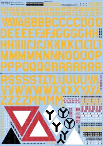 1/48 B17 ID Sq. & ID Lettering, Numbers, Bomb (Yellow) Group Symbols for Camouflage Finish - WBS-148018