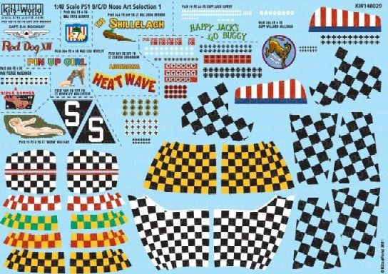 1/48 P51D Nose Art, Kill Markings & Checkers for 10 Aircraft - WBS-148029