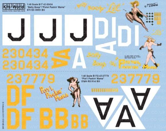 1/48 B17 Betty Boop, Pistol Packin Mama & B17G Pist'l Packing Mama - WBS-148048