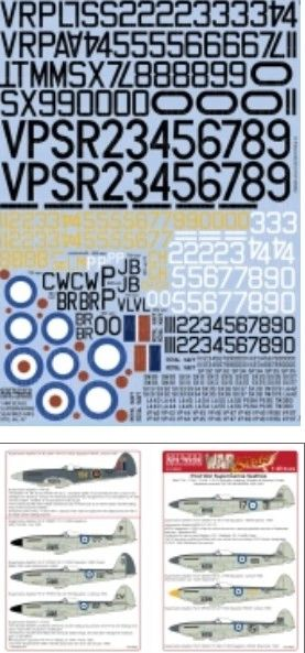 1/48 Supermarine Spitfire Post War Mks FXV/XVI 46/47 Roundels, Lettering, Numbers & Sq Codes - WBS-148092