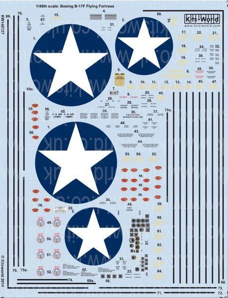 1/48 B17F Stars, General Stenciling, Cockpit Instrumentation & Walkways - WBS-148127