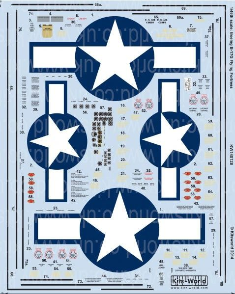 1/48 B17G Stars & Bars, General Stenciling, Cockpit Instrumentation & Walkways - WBS-148128