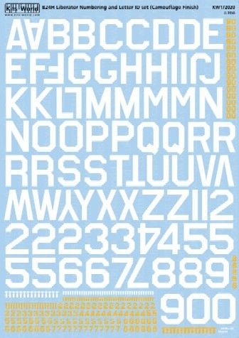1/72 B24 Sq. ID Lettering & Numbers for Camouflage Finish - WBS-172020