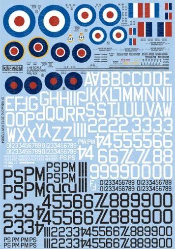 1/72 Supermarine Spitfire PRU Mk XIX Generic Set: Pre/Post War Roundels, Serials & Stenciling - WBS-172084