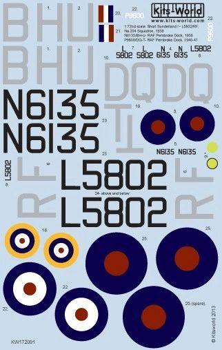 1/72 Short Sunderland Mk I N6135/BH-U, 204Sq, P9600/DQ-T - WBS-172091