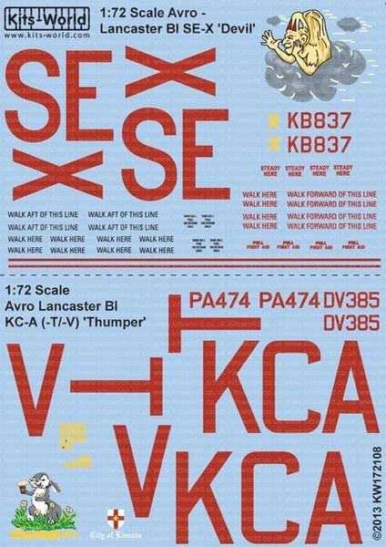 1/72 Avro Lancaster BI SE-X Devil, KC-A (-T/-V) Thumper - WBS-172108