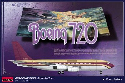 1/144 B720 Starship One Led Zeppelin, Deep Purple Tour Passenger Airliner - Roden 314