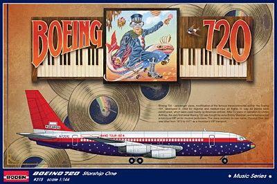 1/144 B720 Starship One Led Zeppelin, Elton John Band Tour Passenger Airliner - Roden 315
