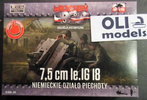 1/72 7.5cm le.IG 18 German Infantry Gun w/3 Crew Figures - First to Fight 31