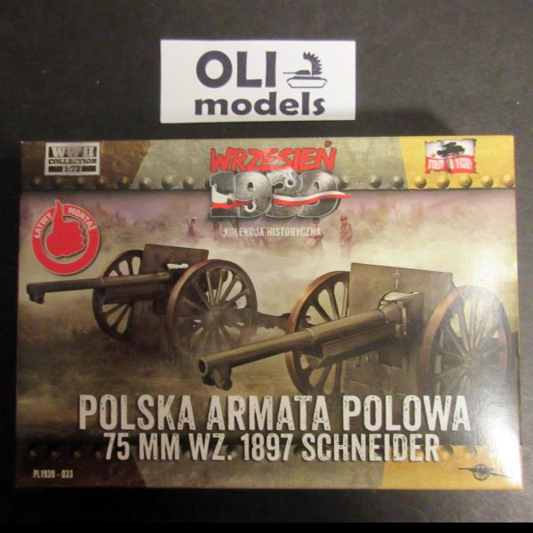 1/72 Polish 75mm Wz.1897 Schneider Field Cannon - Set of 2 - First to Fight 033