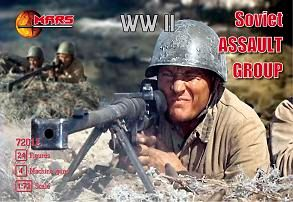 1/72 WWII Soviet Assault Group (24 w/4 Machine Guns) - MARS 72012