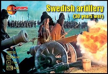 1/72 Thirty Years War Swedish Artillery (24 w/4 Guns) - MARS 72015