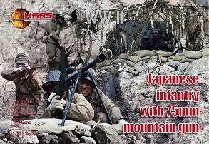 1/72 WWII Japanese Infantry (40) w/75mm Mountain Guns (4) - MARS 72022