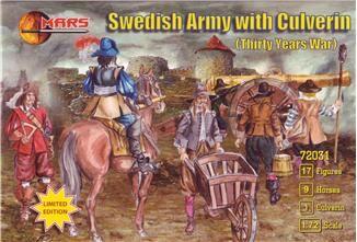 1/72 Thirty Years War Swedish Army w/Large Siege Gun (17 w/9 Horses) - MARS 72031