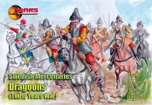 1/72 Thirty Years War Swedish Mercenaries Dragoons (12 Mtd) - MARS 72040