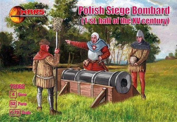 1/72 1st Half XV Century Polish Siege Bombard (24) w/Guns (4) - MARS 72062