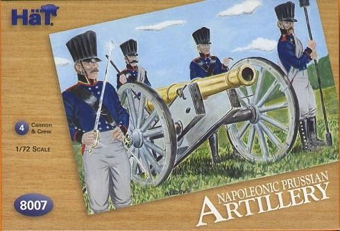 1/72 Napoleonic Prussian Artillery & Cannons (24, 4 Cannons & 4 Horses) - HAT-8007