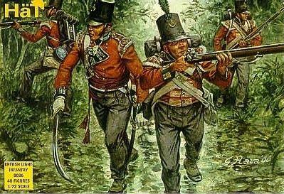 1/72 Napoleonic British Light Infantry (48) - HAT-8036