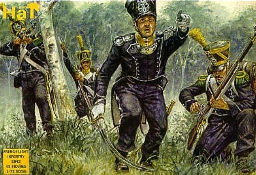 1/72 Napoleonic French Light Infantry (48) - HAT-8042