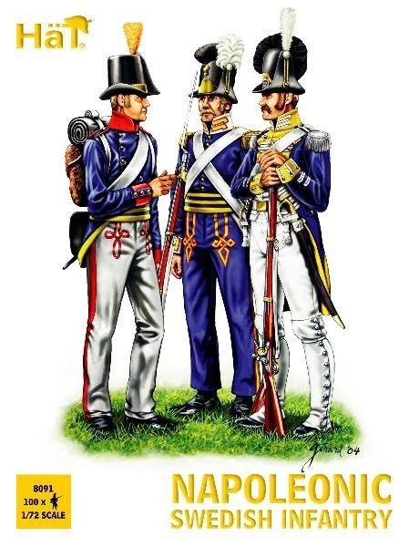 1/72 Napoleonic Swedish Infantry (100) - HAT-8091