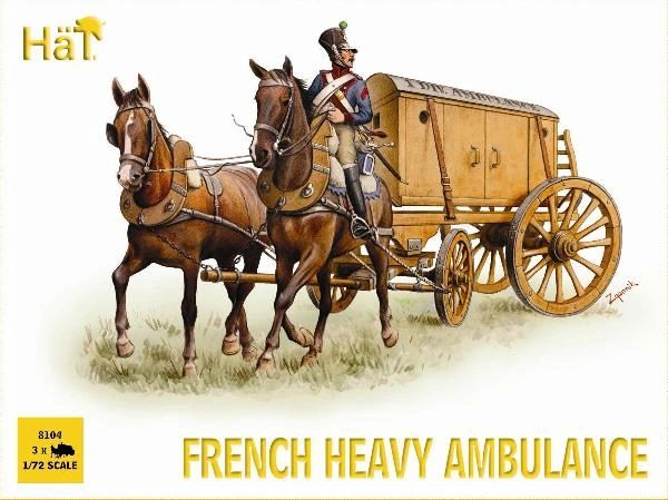 1/72 Napoleonic French Heavy Ambulance (3 w/3 Figs & 6 Horses) - HAT-8104