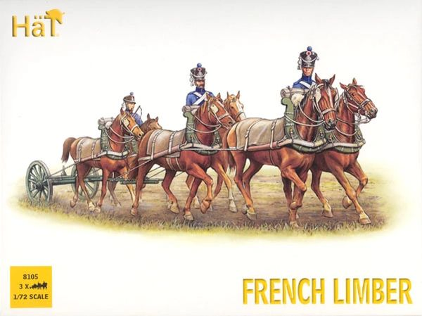 1/72 French Horse Limber Team (3 Sets) - HAT-8105