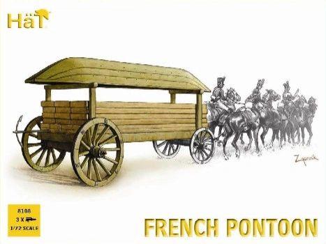 1/72 Napoleonic French Horse Drawn Pontoon (3 Sets) - HAT-8108