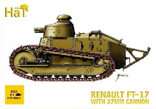 1/72 WWI Renault FT17 Tank w/37mm Cannon (2) (Re-Issue) - HAT-8113