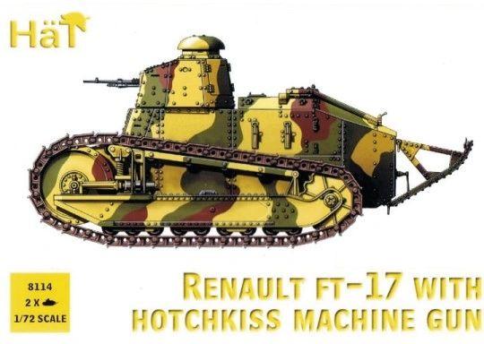 1/72 WWI Renault FT17 Tank w/Hotchkiss Machine Gun (2) - HAT-8114